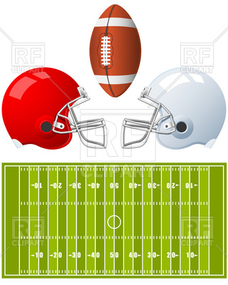 320x400 Two Sport Helmets And Field For American Football Vector Image