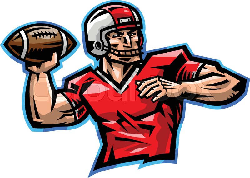800x572 American Football Quarterback Throwing Football Vector