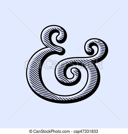 450x470 Ampersand Vector Illustration. Ampersand Symbol With Natural