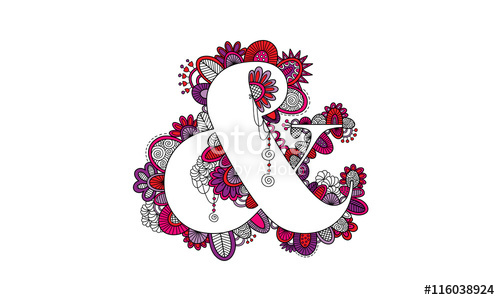500x300 Ampersand Hand Drawn Doodle Vector Bright Colourful Amp Symbol Or