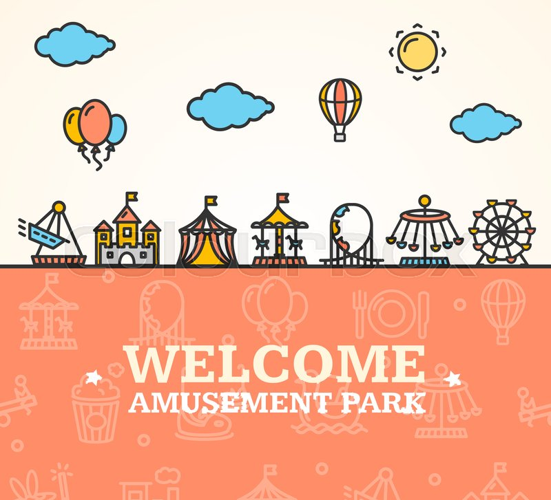 800x727 Amusement Park Welcome Card Invitation Witch Thin Line Icons