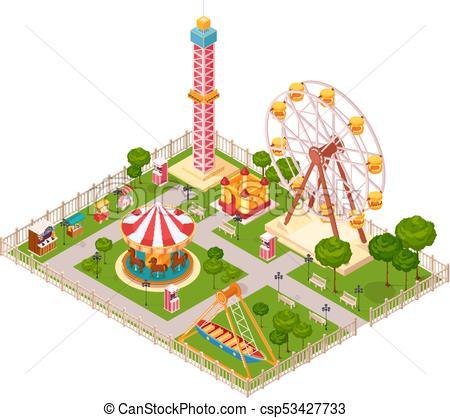 450x418 Amusement Park Isometric Design Concept. Amusement Park Design
