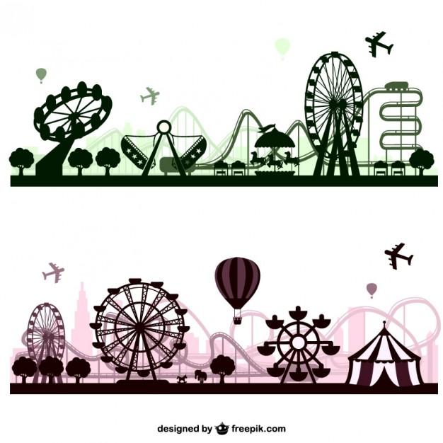 626x626 Amusement Park Skylines Vector Free Download