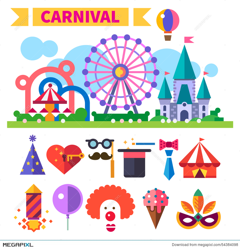 800x830 Carnival In Amusement Park. Vector Flat Icon Set And Illustrations