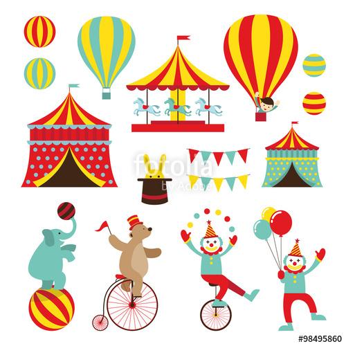 500x500 Circus Objects Flat Icons Set, Amusement Park, Theme Park