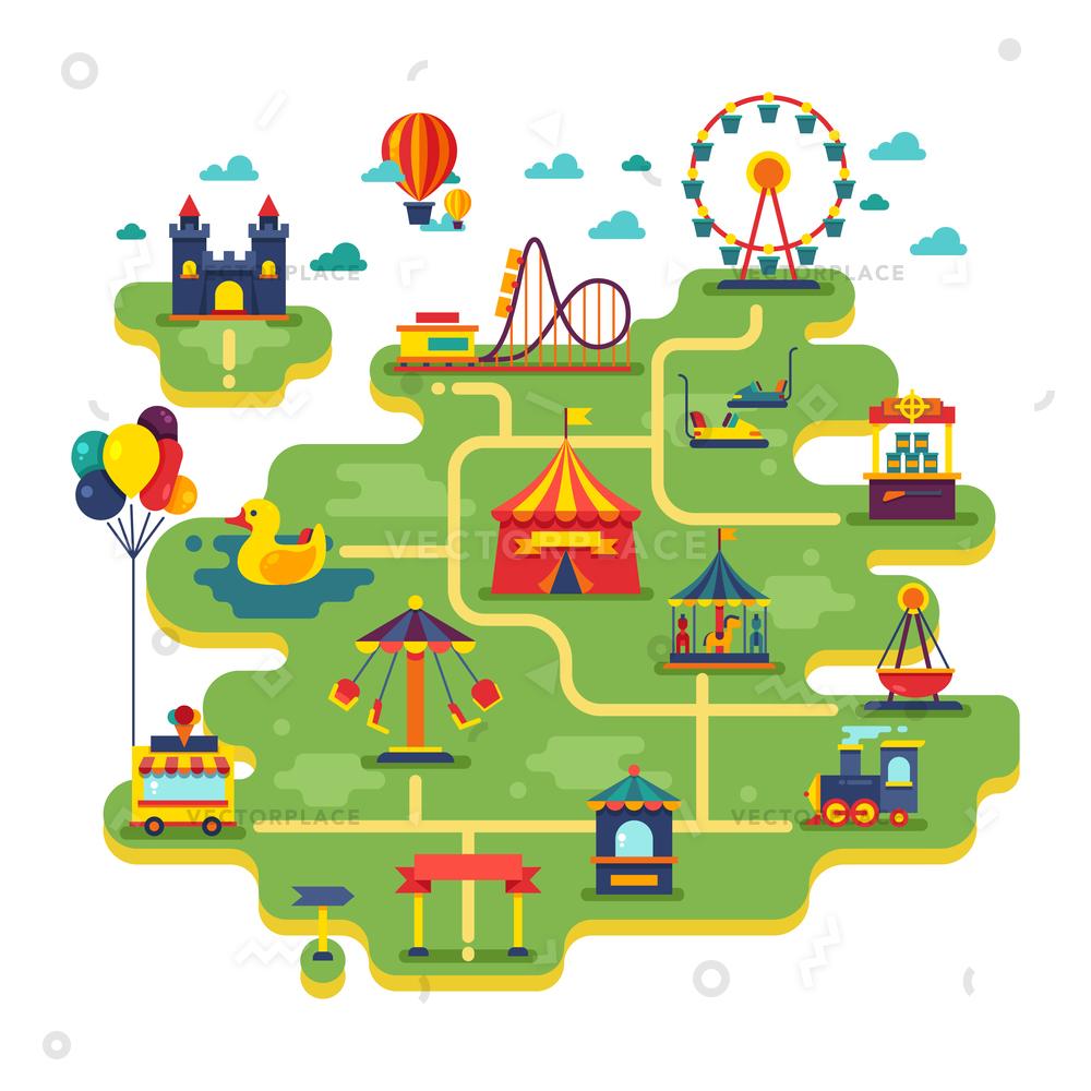 1000x1000 Family Fun Amusement Park Map Entertainment Vector Illustration