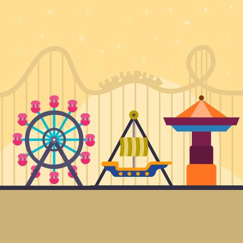 490x490 Flat Roller Coaster And Theme Park Vector Illustration