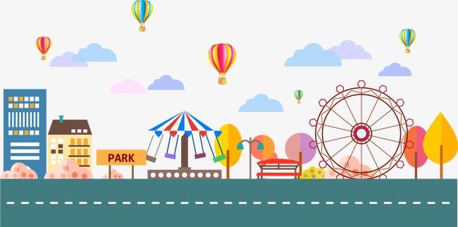 650x322 Vector Amusement Park, Amusement Park, Vector, Ferris Wheel Png