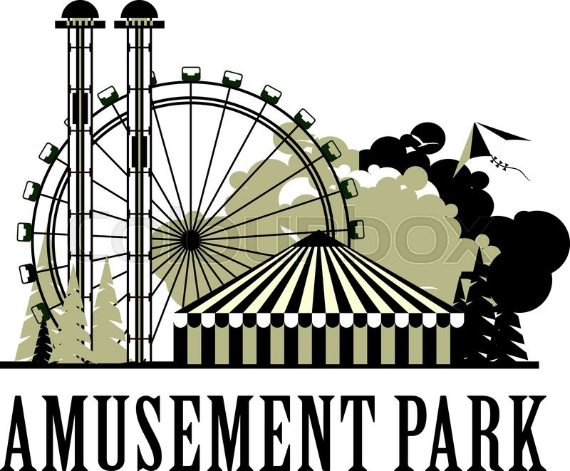 800x661 Vector Illustration Poster Amusement Park Rides And A Carnival