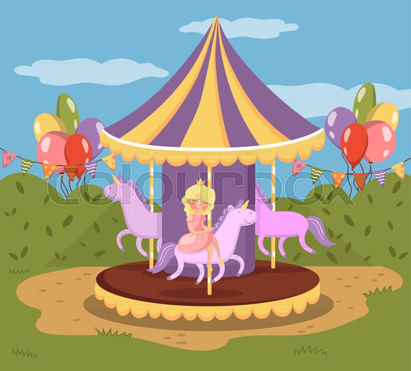 800x722 Vintage Carousel With Horses, Amusement Park Vector Illustration