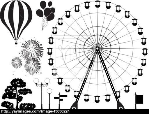 512x391 Vector Elements Of Amusement Park Vector