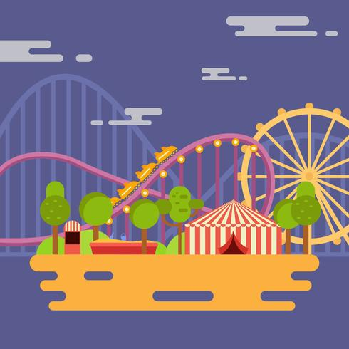 490x490 Amusement Park Vector Illustration