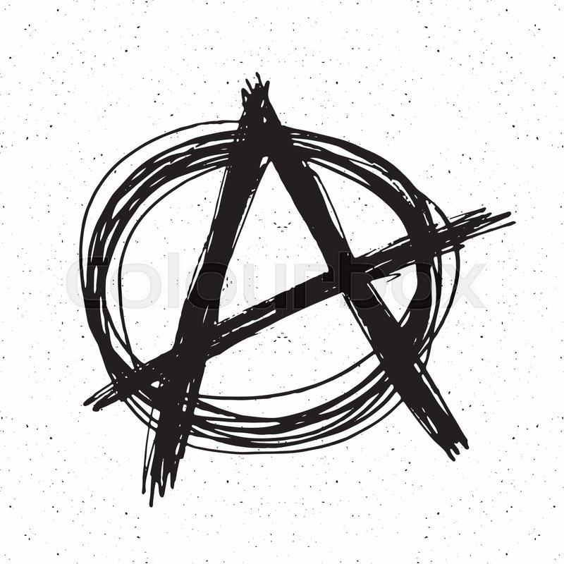 800x800 Anarchy Sign Hand Drawn Sketch. Textured Grunge Punk Symbol