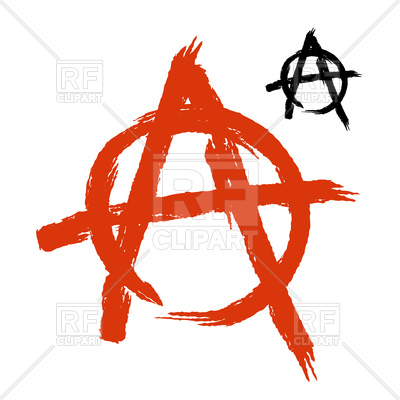 400x400 Anarchy Symbol In Grunge Style Vector Image Vector Artwork Of