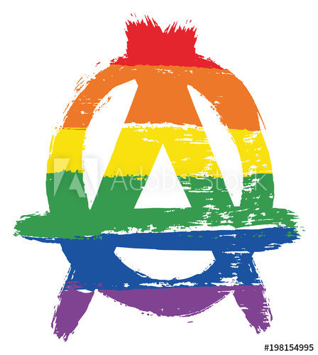 448x500 Lgbtq Anarchy Symbol Vector Hand Painted With Rounded Brush