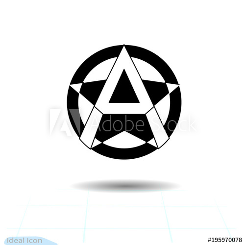 500x500 Anarchy Sign. Vector Image, White Background. Anarchist Star