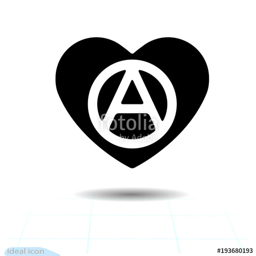 500x500 Heart Vector Black Icon, Love Symbol. The Anarchy Sign In Heart