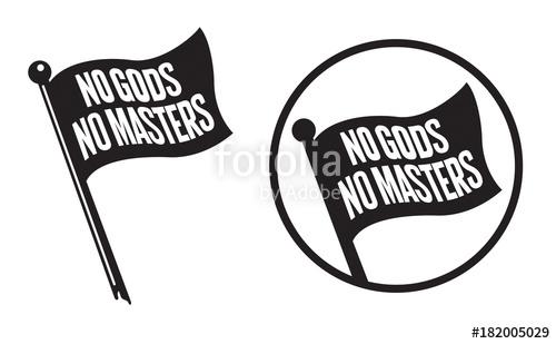 500x309 No Gods No Masters Black Flag Icons Vector Illustration Of Black