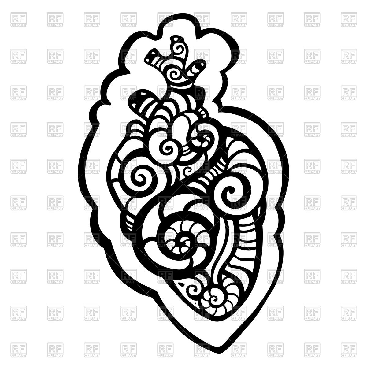 1200x1200 Ethnic Tracery Of Anatomical Heart For Tattoo Vector Image