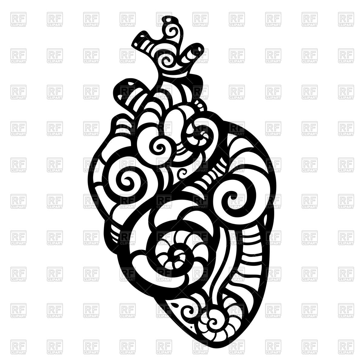 1200x1200 Ornamental Anatomical Heart Vector Image Vector Artwork Of