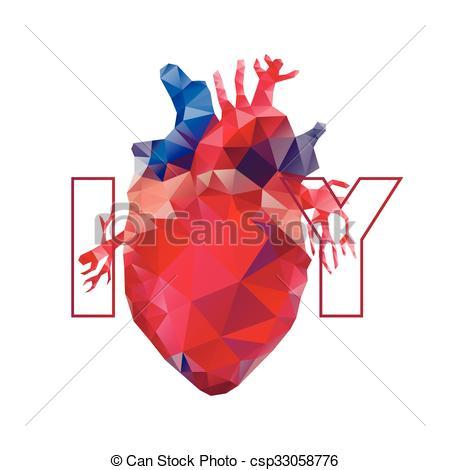 450x470 Realistic Polygonal Heart. Anatomy Collection