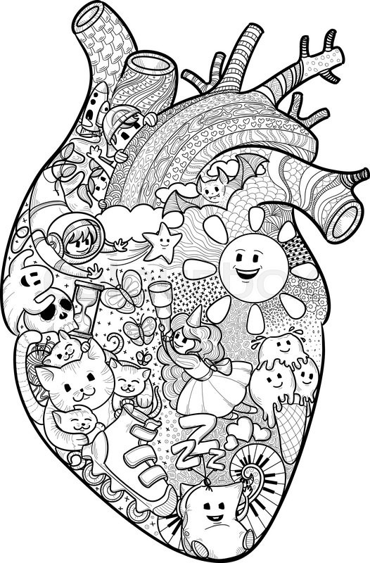 526x800 Anatomical Heart Shape Filled With Funny Doodles Texture Freehand