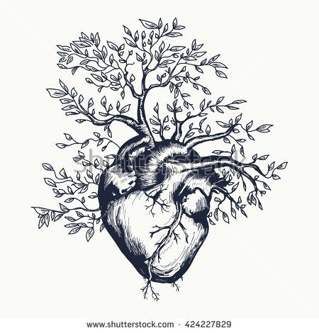 450x470 Anatomical Human Heart From Which The Tree Grows Heart Tattoo Art