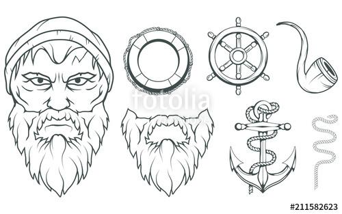 500x313 Hand Drawn Sailor. Cartoon Bearded Man Character. Sailor Character