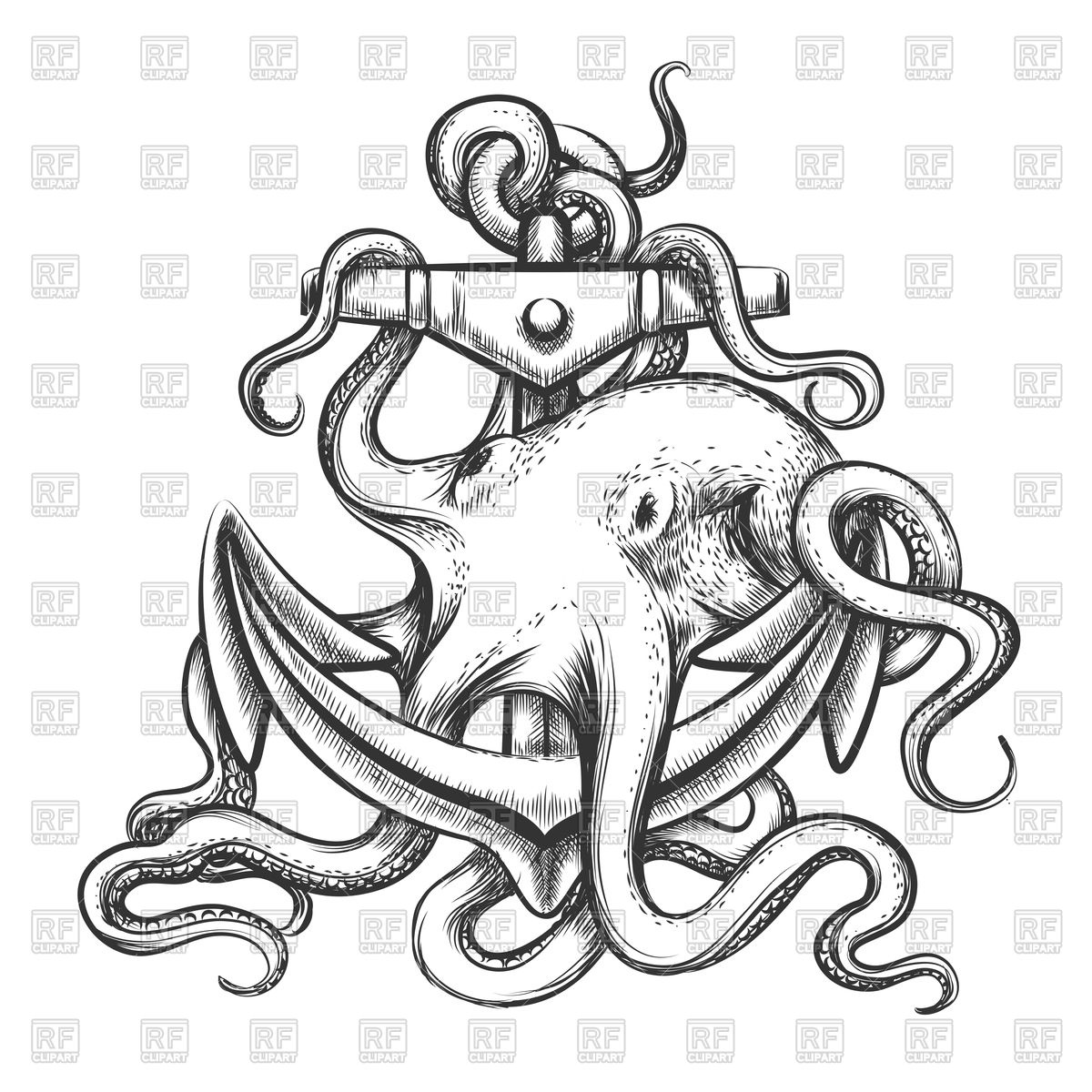 1200x1200 Octopus With Anchor Drawn In Tattoo Style Vector Image Vector