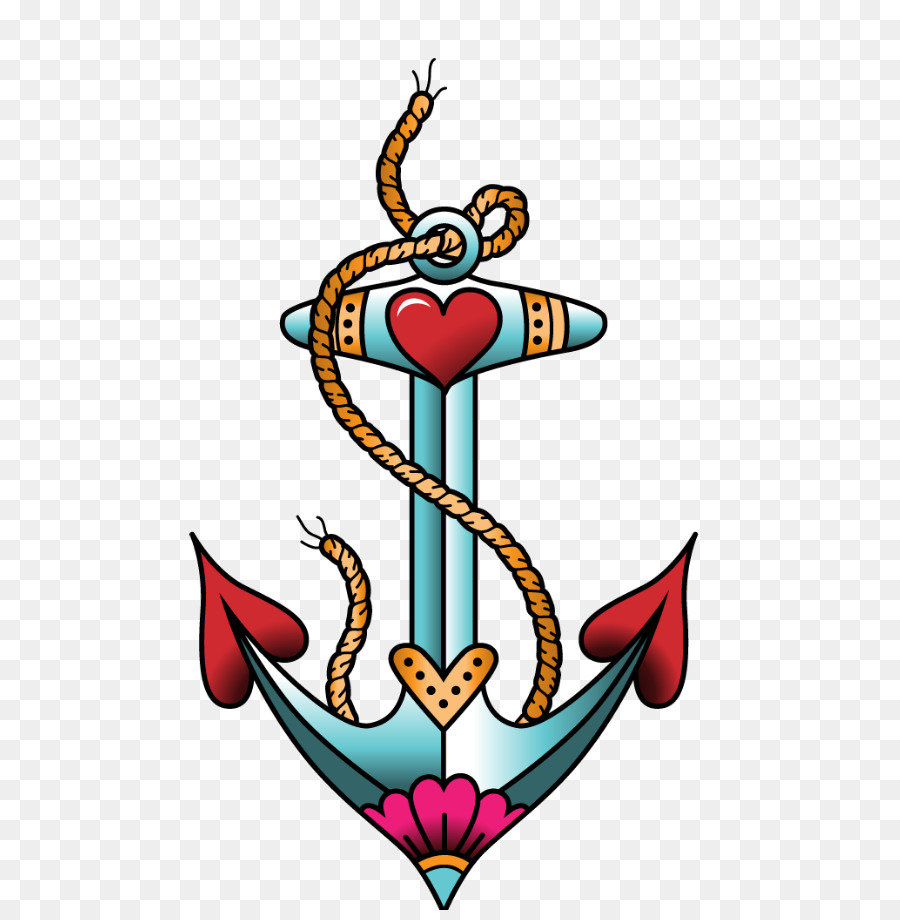 900x920 Old School (Tattoo) Anchor Vector Graphics Image