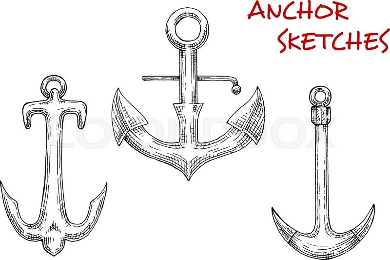 800x533 Old Stock Anchors Sketch Icons With Decorative Curved Arms And