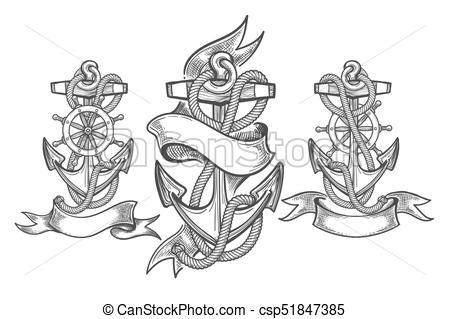 450x319 Ship Anchor Tattoo Set. Hand Drawn Anchor Set. Three Anchors With