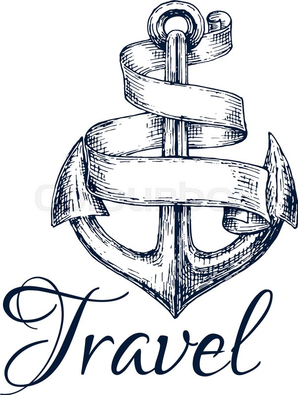 603x799 Travel Icon. Anchor And Spiral Twisted Ribbon Sketch Emblem