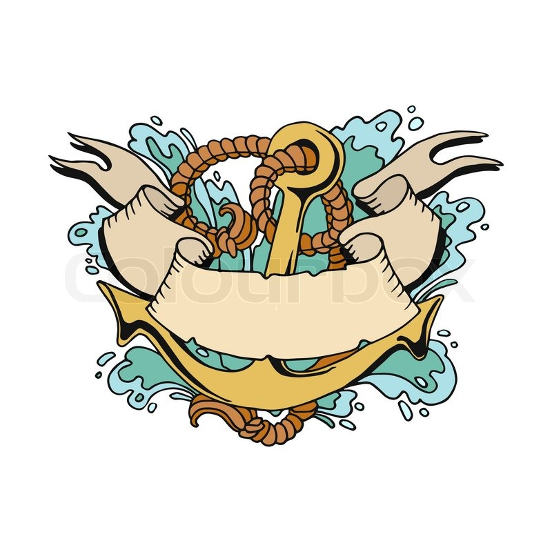800x800 Vector Illustration Of A Pirate Ship Anchor Tattoo Style Stock