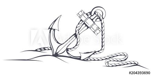 500x250 Anchor Set. Hand Drawn Anchor. Vector Artwork.