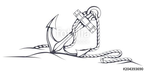 500x250 Anchor Set. Hand Drawn Anchor. Vector Artwork. Stock Image And