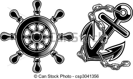 450x269 Black And White Ship Steering Wheel And Anchor.