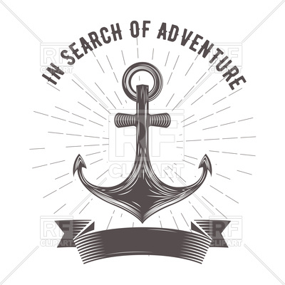 400x400 Nautical Emblem With Anchor And Banner Vector Image Vector
