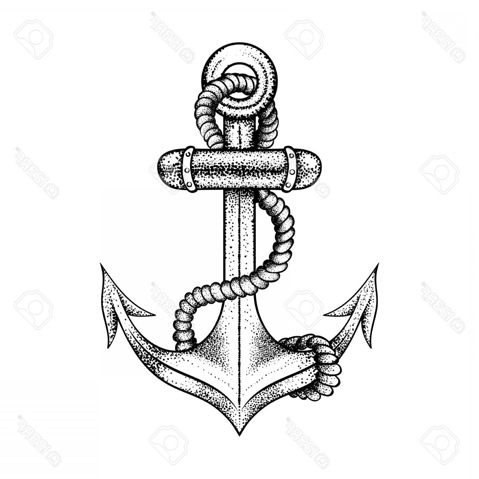 1560x1560 Photostock Vector Hand Drawn Elegant Ship Sea Anchor With Rope