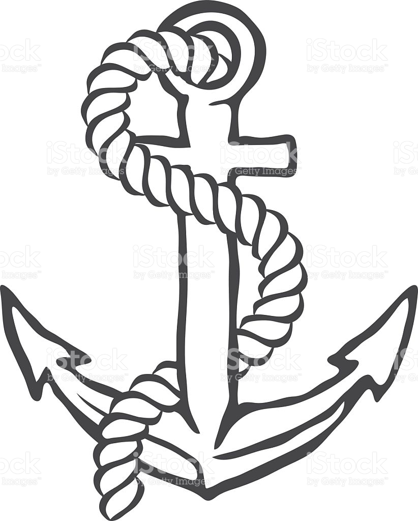 822x1024 Collection Of Anchor Drawing With Rope High Quality, Free
