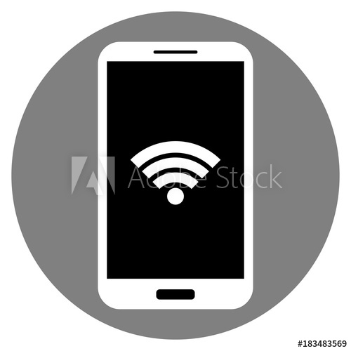 500x500 Cell Phone Icon. Android Smartphone With Touch Id, Isolated. Black