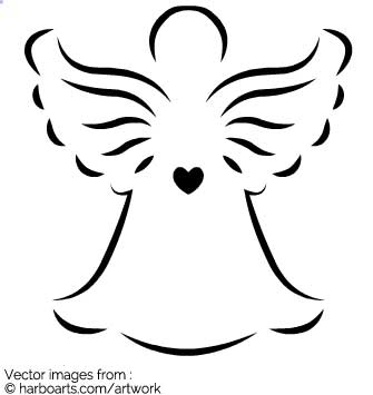 335x355 Images Of Angel Outline Vector