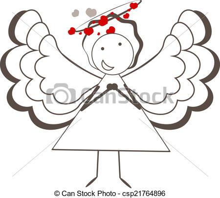 450x406 Angel. Vector Illustration Of A Cute Angel.