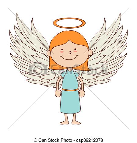 450x470 Angel Smiling Icon Vector Graphic. Angel Heavenly Saint Smiling