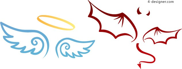 633x242 4 Designer Angel And Devil Wings Vector Material