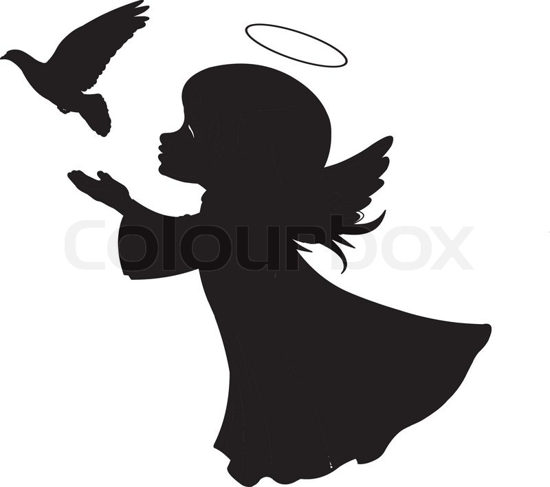 800x708 Silhouette Of A Angel With Dove Stock Vector Colourbox