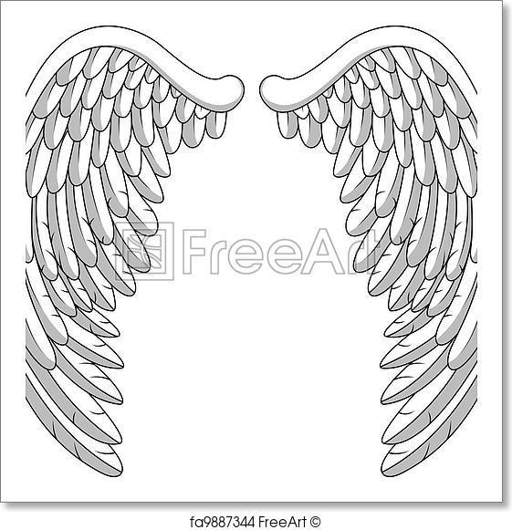 561x581 Free Art Print Of Angel Wings . Vector Illustration Of Angel Wings