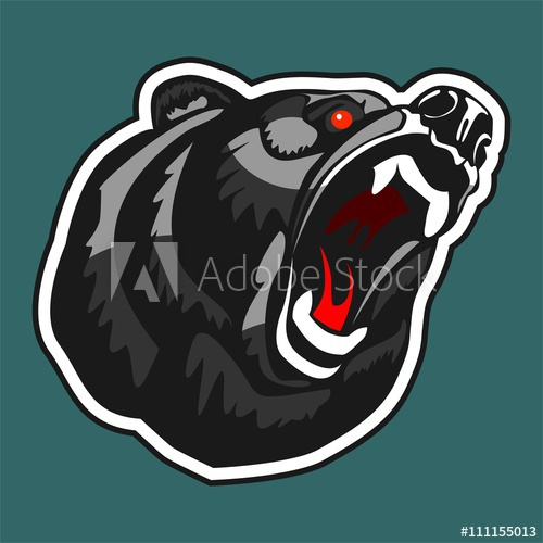 500x500 Angry Bear. Vector Logo In The Form Of A Head Growling Bear