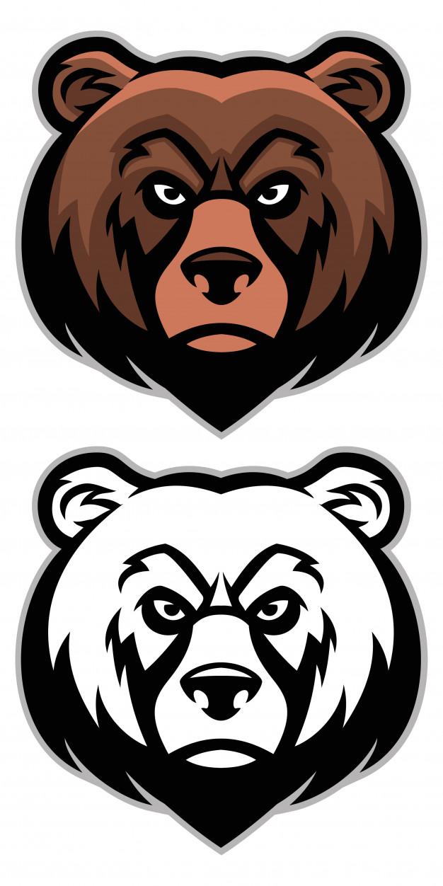 626x1252 Angry Bear Head Mascot Set Vector Premium Download