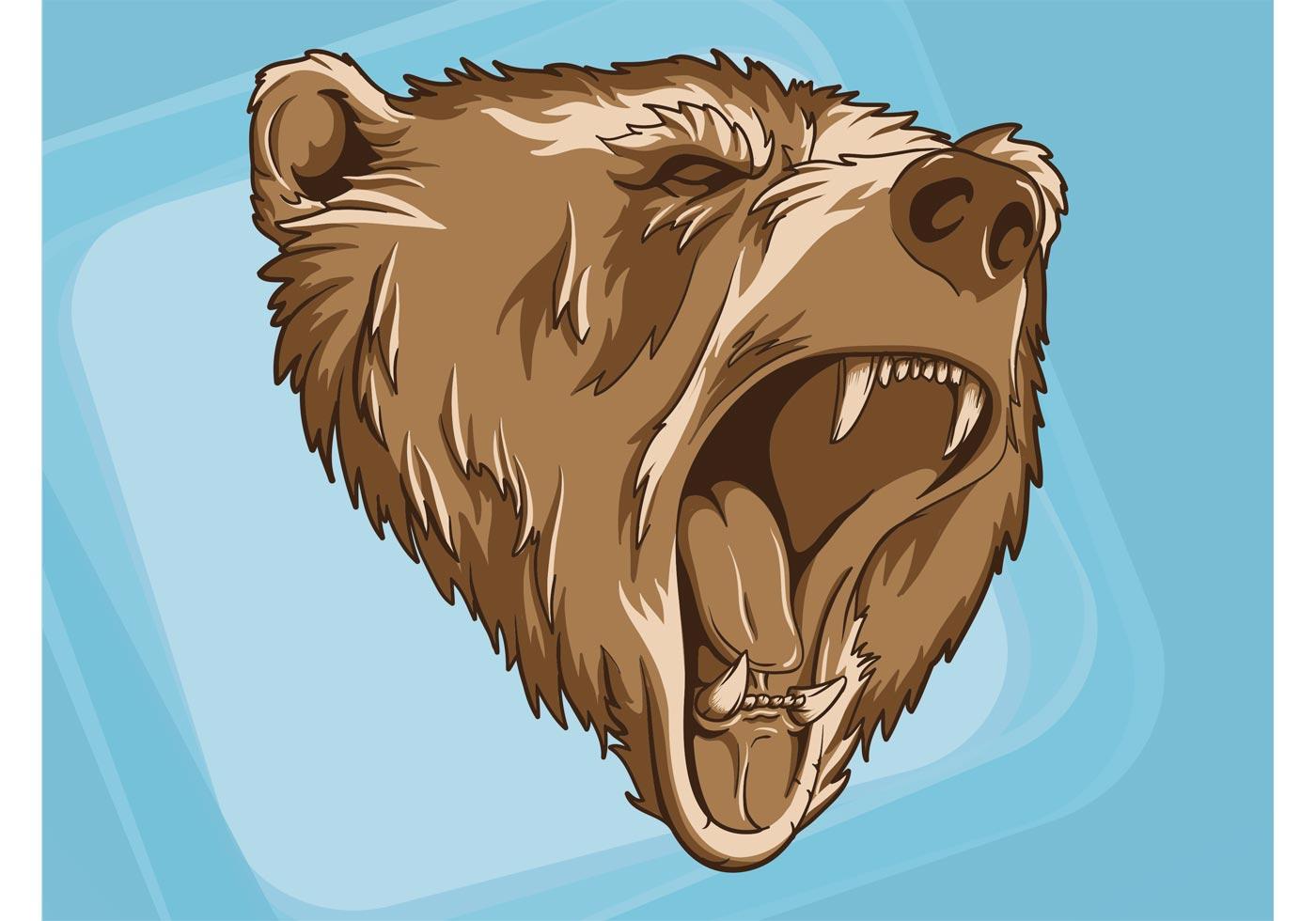 1400x980 Bear Head Free Vector Art